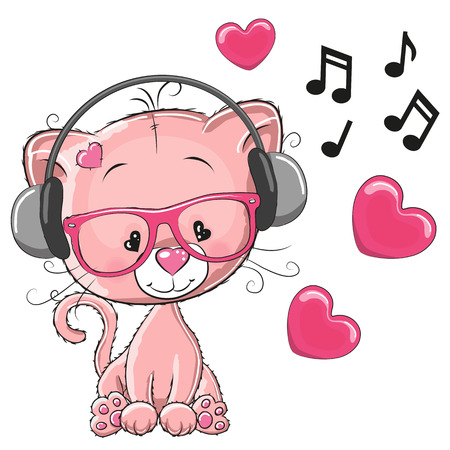 kitten cartoon: Cute cartoon kitten with headphones Illustration