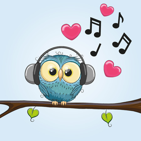 Cute cartoon Owl with headphones