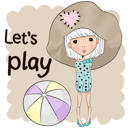 summer fun: Cute Girl with a ball on a beige background Illustration