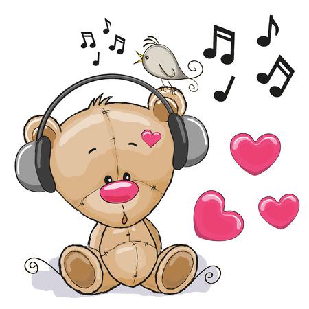 animais: Desenhos animados bonitos do urso de peluche com fones de ouvido
