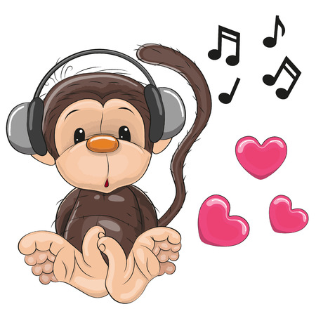 Cute cartoon Monkey with headphones