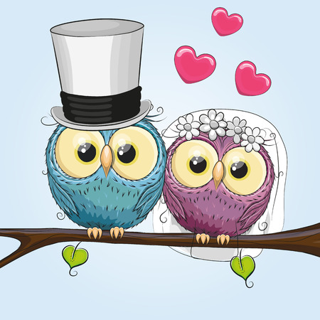 Owl Bride and Owl groom on a brunch Çizim