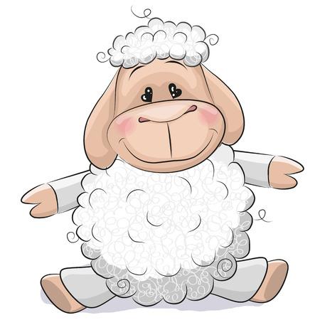白い背景に分離されたかわいい羊