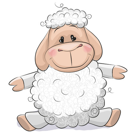 lamb cartoon: Cute Sheep isolated on a white background