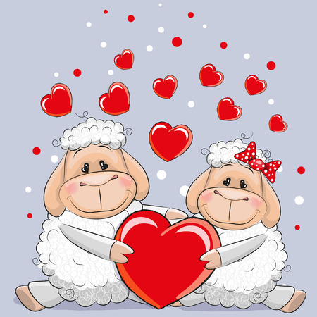 sheep love: Valentine card with Lovers Sheep and heearts on a blue background Illustration