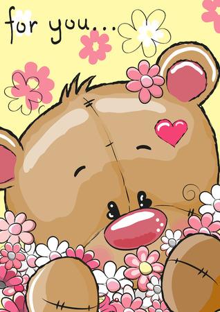 auguri di buon compleanno: Carino Teddy Bear con fiori su uno sfondo giallo Vettoriali