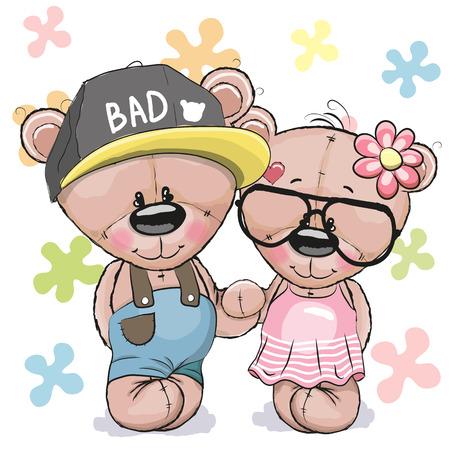 caricaturas de animales: Tarjeta greeeting peluche teddy boy chica sobre un fondo de flores
