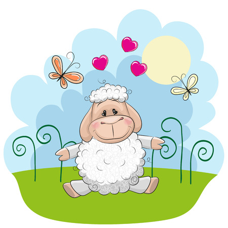 baby sheep: Cute Sheep with butterflies on a meadow Illustration
