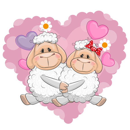 sheep love: Two Cute Sheep on a background of heart Illustration