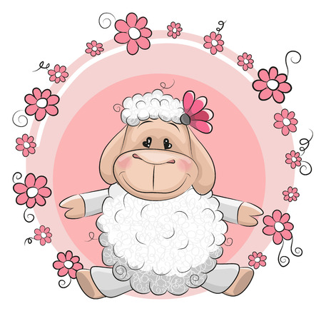 Greeting card Cute Sheep with flowers on a pink background