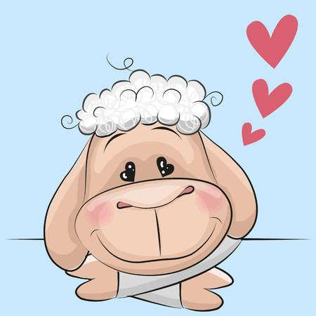 Cute Sheep with hearts on a blue background Illustration