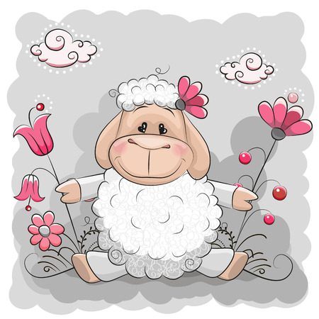 Cute Sheep with flowers on a meadow Illustration