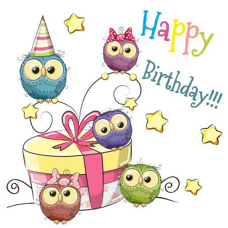 oiseau dessin: Carte de voeux mignon cinq hiboux avec cadeau Illustration