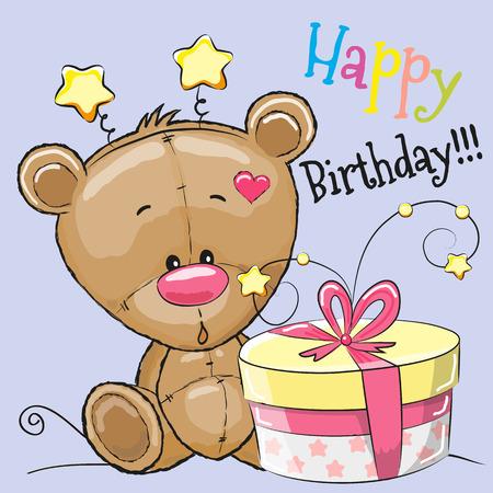 Greeting card cute Teddy Bear with gift