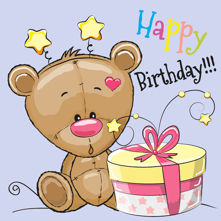 caricaturas de animales: Tarjeta de felicitación linda del oso de peluche con el regalo