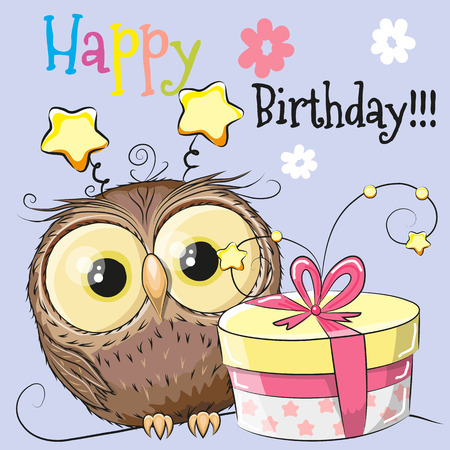 Greeting card cute Owl with gift on a blue background