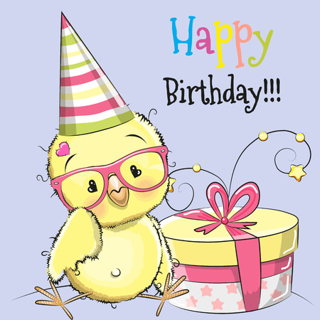 chick cartoon: Greeting card cute Chicken with gift Illustration