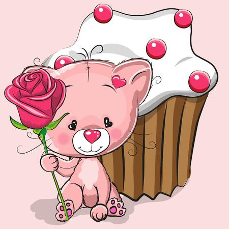 caricaturas de animales: Tarjeta de felicitación linda del gato con la rosa y pastel Vectores