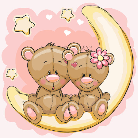 Two Cute Bears is sitting on the moon 일러스트