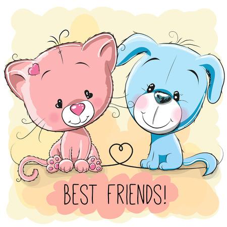 amistad: Gato lindo y perro en un fondo amarillo