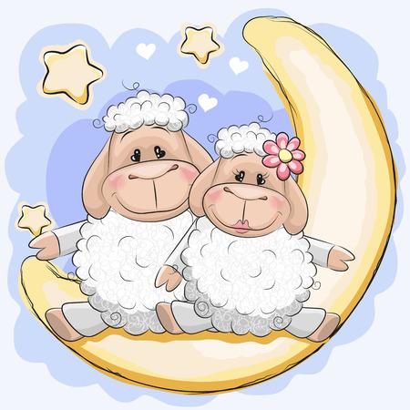 cara triste: Dos ovejas lindo está sentado en la luna Vectores