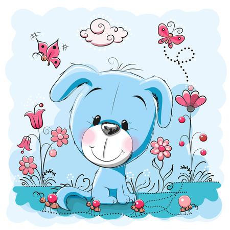 Leuke hond met bloemen en vlinders op een weide