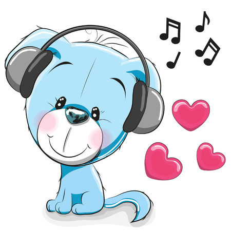child drawing: Cute cartoon Dog with headphones on a white background