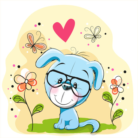 cute dog: Cute Dog with flowers and butterflies Illustration