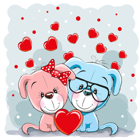 cute dog: Valentine card with Lovers Dogs and hearts Illustration