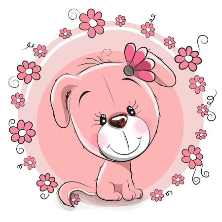 cute girl: Greeting card Dog with flowers