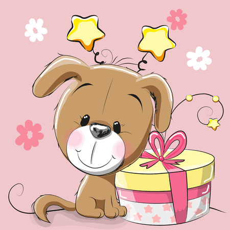Greeting card cute Puppy with gift on a pink background