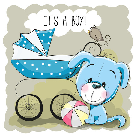 it's: Greeting card its a boy with baby carriage and dog Illustration