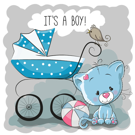the animated cartoon: Greeting card its a boy with baby carriage and cat
