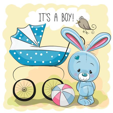 familia animada: Tarjeta de felicitaci�n es un muchacho con el carro de beb� y conejo