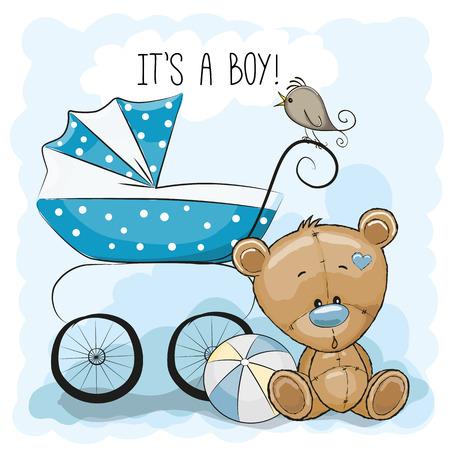 oso de peluche: Tarjeta de felicitación es un muchacho con el carro de bebé y oso de peluche Vectores