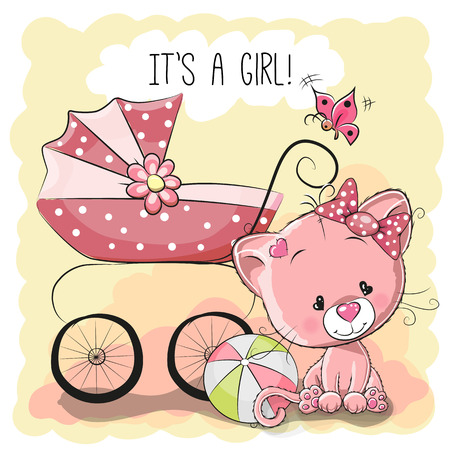 animate: Greeting card its a girl with baby carriage and cat