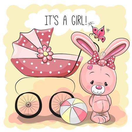 familia animada: Tarjeta de felicitación es una niña con carrito de bebé y conejo