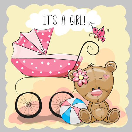 the animated cartoon: Greeting card its a girl with baby carriage and teddy bear
