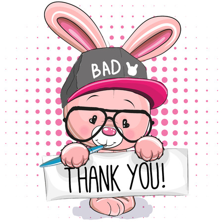 pink rabbit: Cute pink rabbit with plaque with inscription thanks Illustration