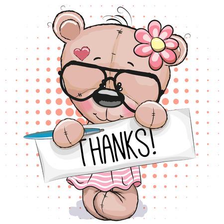 osos de peluche: Cute rosa del oso de peluche con la placa con la inscripción gracias