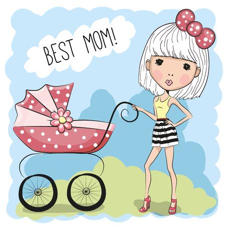 niño empujando: Tarjeta de felicitación mejor mamá bebé con el transporte Vectores
