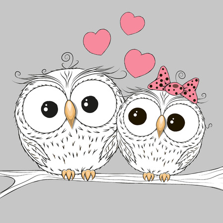 sowa: Dwie urocze sowy siedzącej na gałęzi Ilustracja