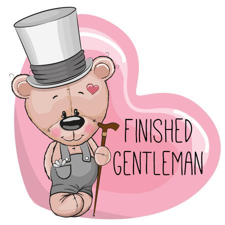 caricaturas de animales: Tarjeta de felicitación linda de la historieta del oso de peluche en un sombrero