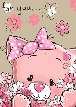kitten cartoon: Greeting card cute cartoon Pink Kitten with flowers