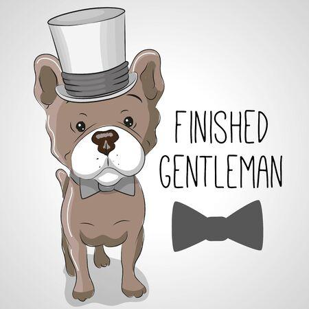 caricaturas de animales: tarjeta de felicitación del perro lindo de la historieta en un sombrero