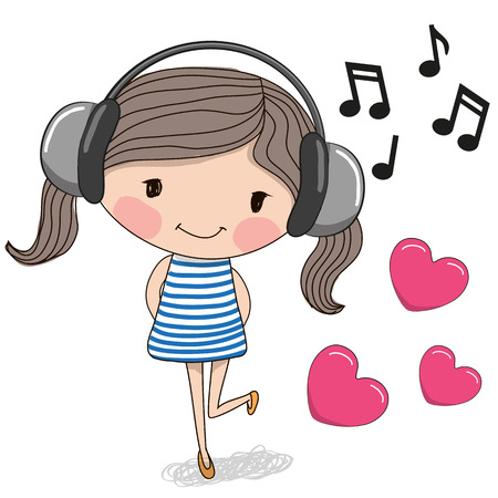 Cute cartoon Girl with headphones and hearts Çizim