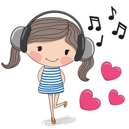 menina: Menina bonito dos desenhos animados com auscultadores e corações
