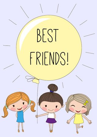balloon background: Three Cute girls with yellow balloon on a white background Illustration