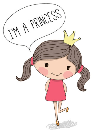 crown cartoon: Cute Princess in a pink dress on a white background