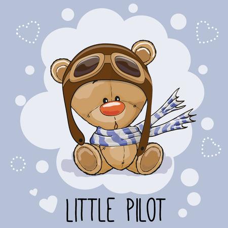 piloto: Historieta linda del oso de peluche en un sombrero de piloto